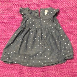 Cherokee blue dress with white hearts 12 m